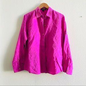 LRL Ralph Lauren linen shirt button front pink L